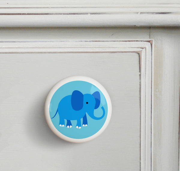 Elephant - Endangered Animals Small Ceramics Kids Drawer Knob by Olive Kids from Art Appeel