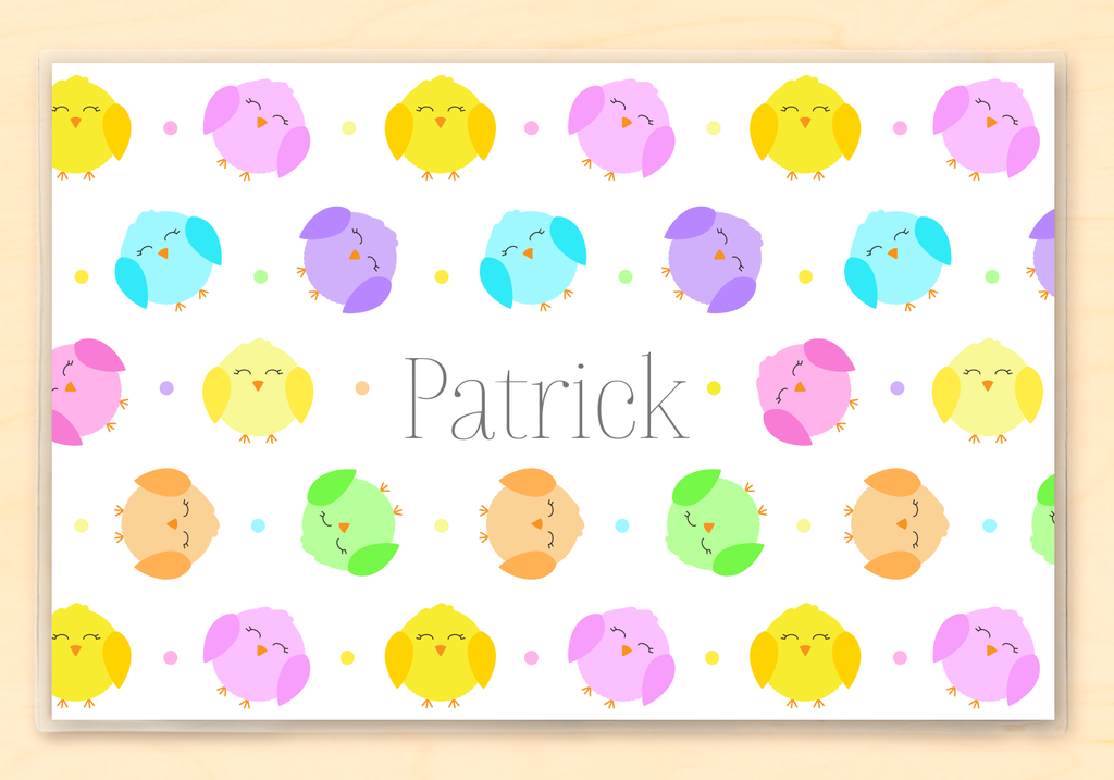 Cute little chicks on a personalized Easter placemat.