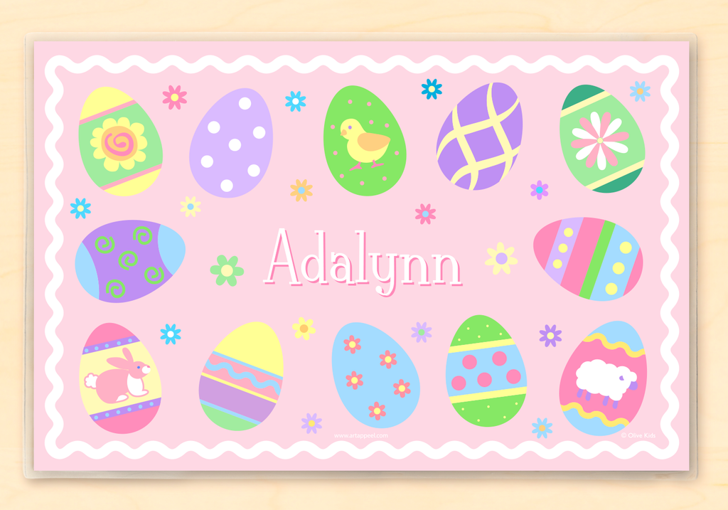 Easter Eggs Girls Personalized Kids Placemat by Olive Kids