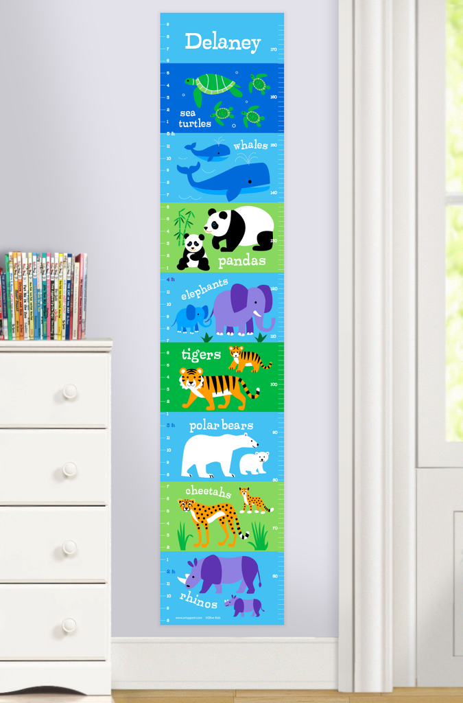 Growth Chart with Mother and Baby animals on stripes of blues and greens.  Personalized with child's name at the top. Photographed in room scene.