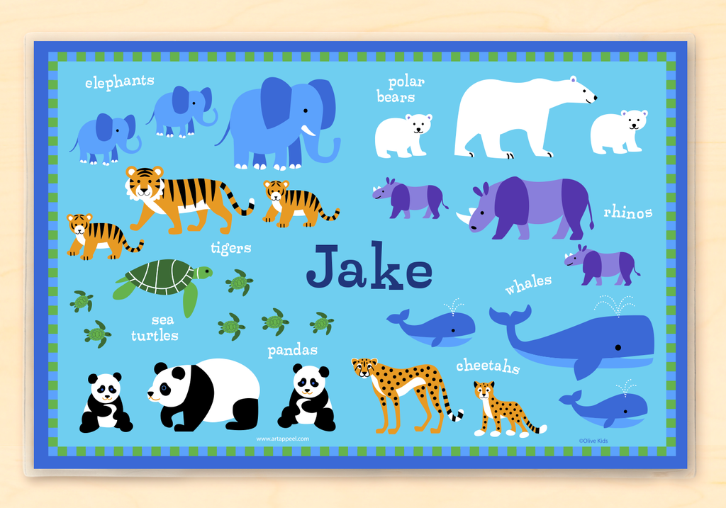 Endangered Animals Personalized Kids Placemat with elephants, pandas, tigers and other animals on blue background