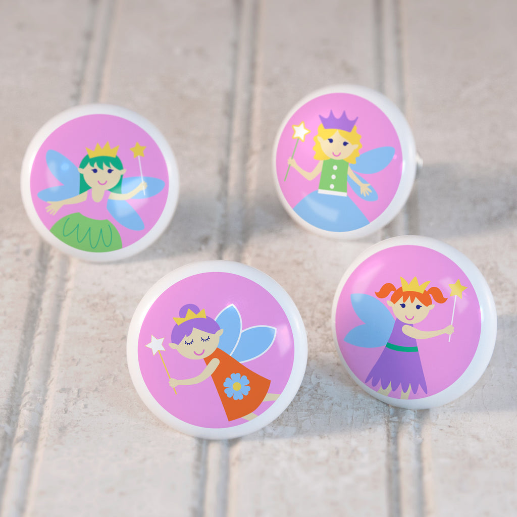 Fairy Princess Set of 4 Small Ceramic Kids Drawer Knobs by Olive Kids from Art Appeel