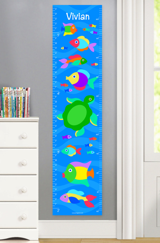 Canvas growth chart with colorful fish and turtles