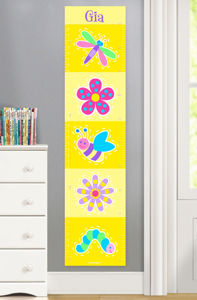 Girls growth chart with flowers and cute bugs