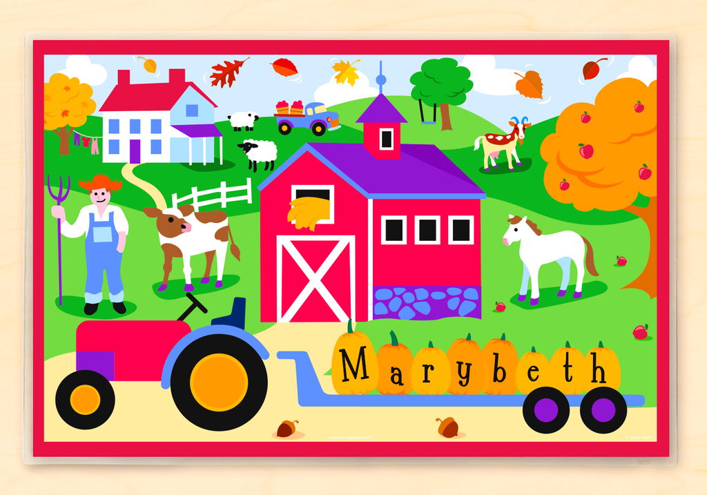 Fall Farm Personalized Kids Placemat with tractor, pumpkins, fall trees, apples, barn and farmhouse