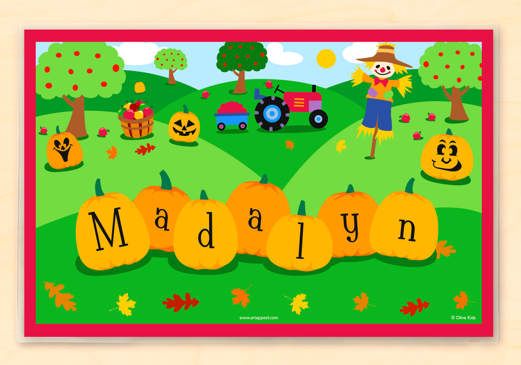 Fall Pumpkins Personalized Kids Placemat with pumpkins, scarecrow and tractor in autumn scene