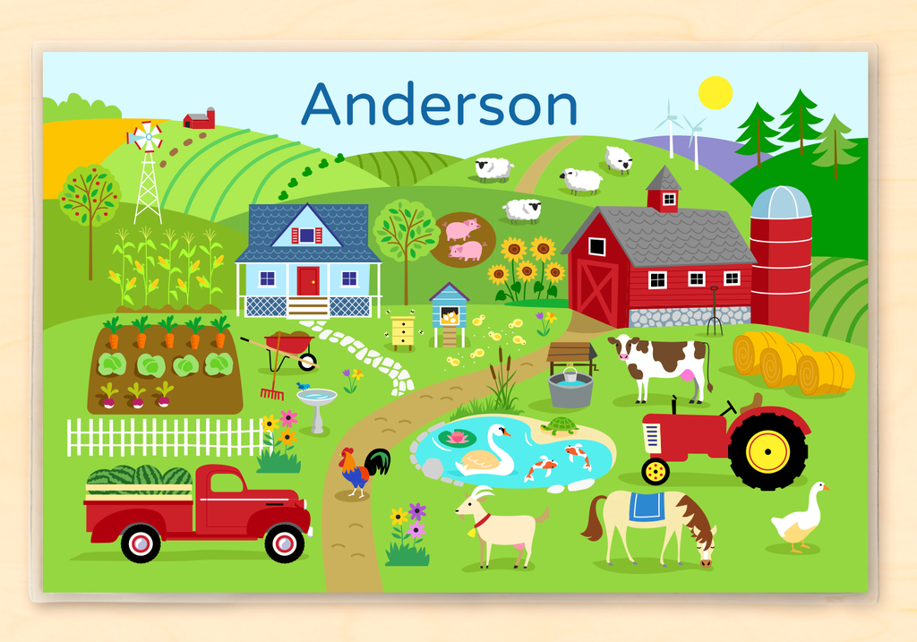 Kids Personalized Farm Land Placemat with your kid's name, a big red barn, a pickup truck full of watermelons, and all kinds of farm animals