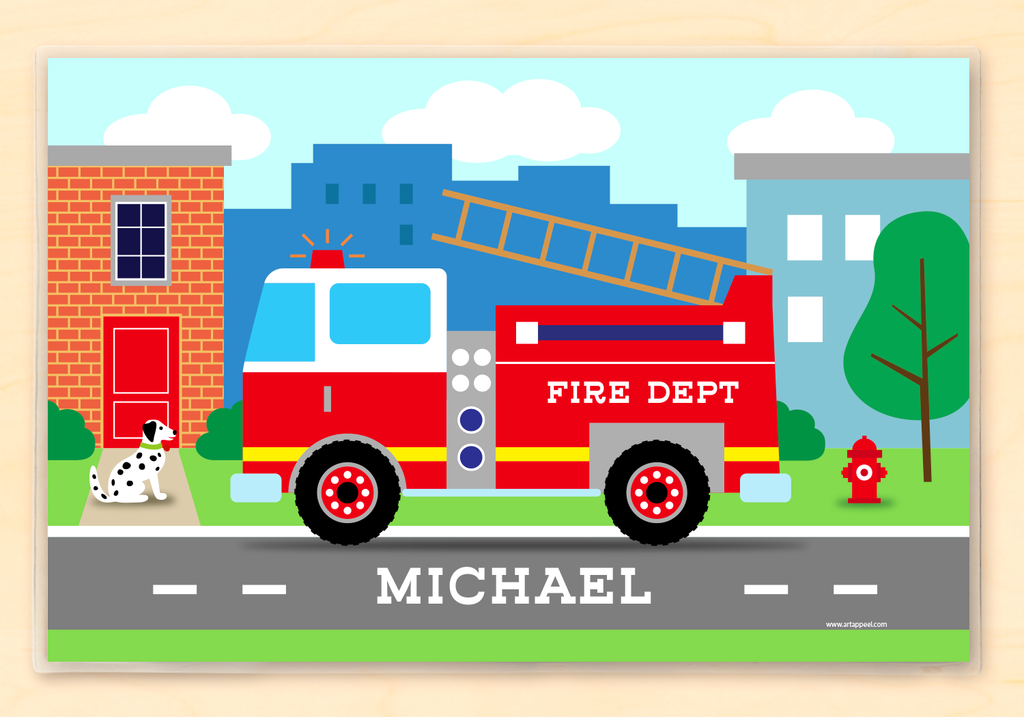 Firetruck Personalized Kids Placemat