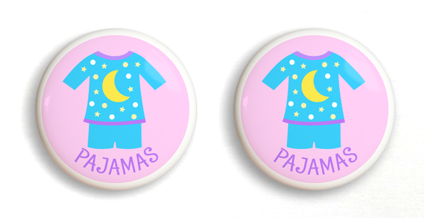 2 Ceramic drawer knobs, girls pajamas on a pink ground with the word Jammies written below