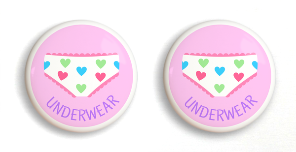 2 Ceramic drawer knobs, girls underwear on a pink ground with the word Underwear written below