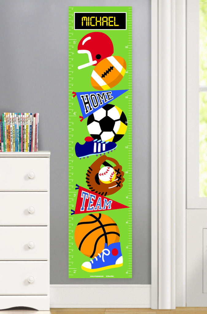Personalized canvas growth chart with sport balls for soccer, football, baseball and basketball. Also shows sneakers and pennants.