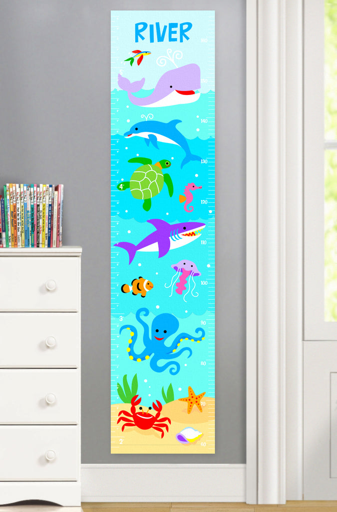 Ocean Canvas Growth Chart with whales, dolphin, turtle and more