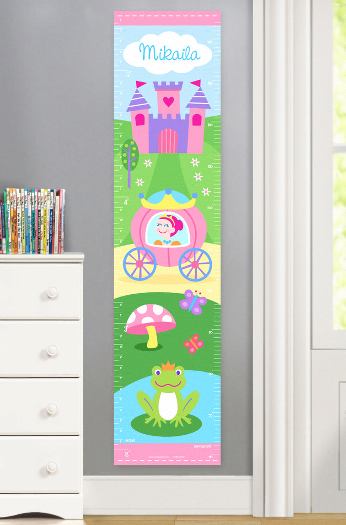 Princess Canvas Growth Chart with castle, coach and frog
