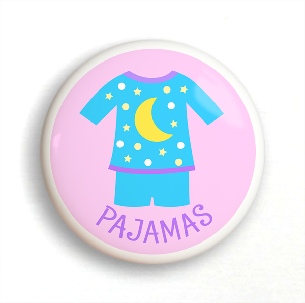 Ceramic drawer knob with Girl's Pajamas on a pink background with the word Jammies written below