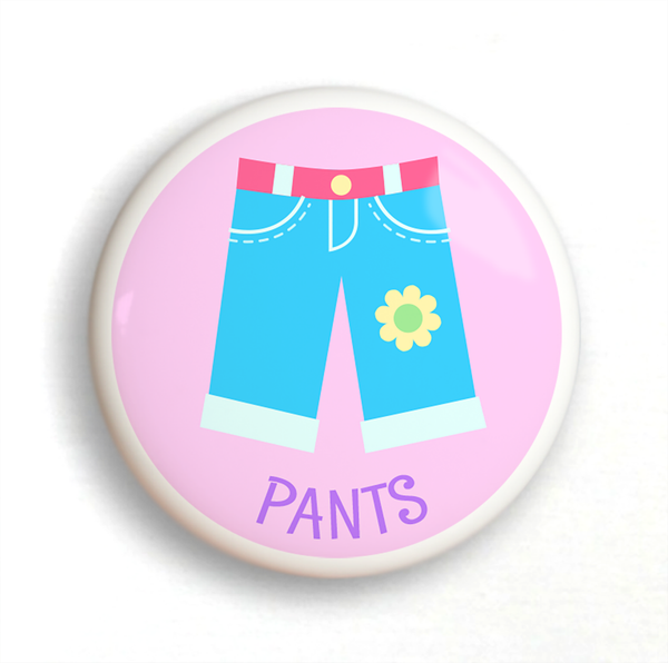 2 Ceramic drawer knobs, girl's pants on a pink ground with the word Pants written below