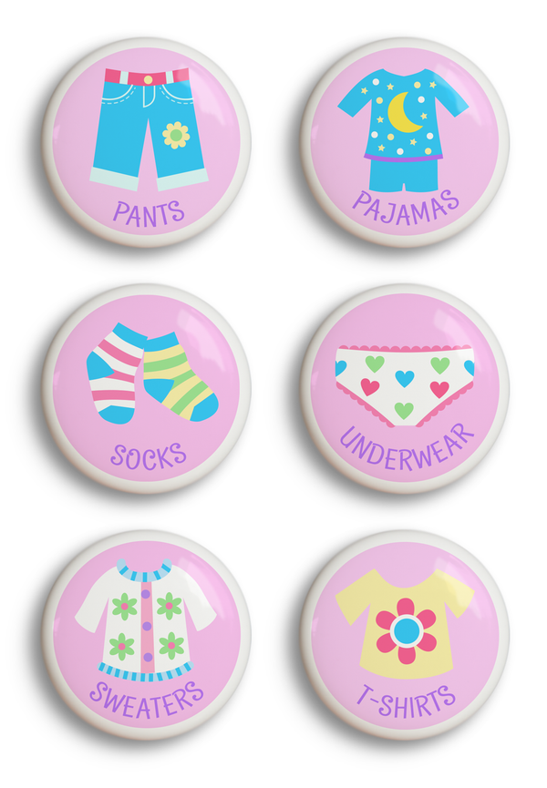 Girls ceramic drawer knob set of 6, one each of socks, underwear, pajamas, sweaters, t-shirts, and pants
