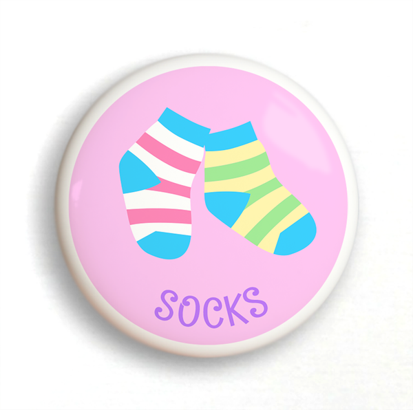 Ceramic drawer knob, striped girls socks on a pink background with the word Socks written below
