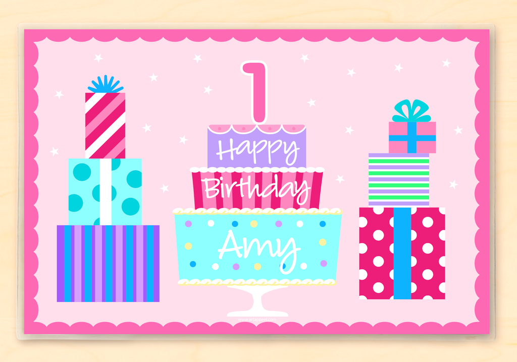 Pink Birthday Personalized Kids Placemat