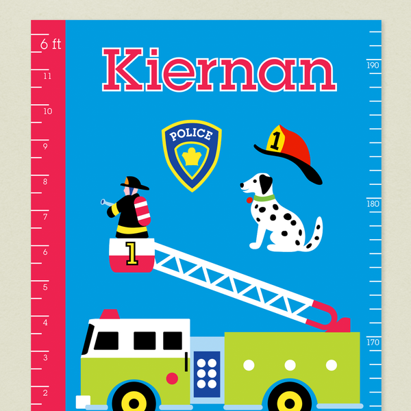 Close up of Heroes Growth Chart with Fire Engine, Dalmatian, and fireman on a blue background. Child's name written at top in red.