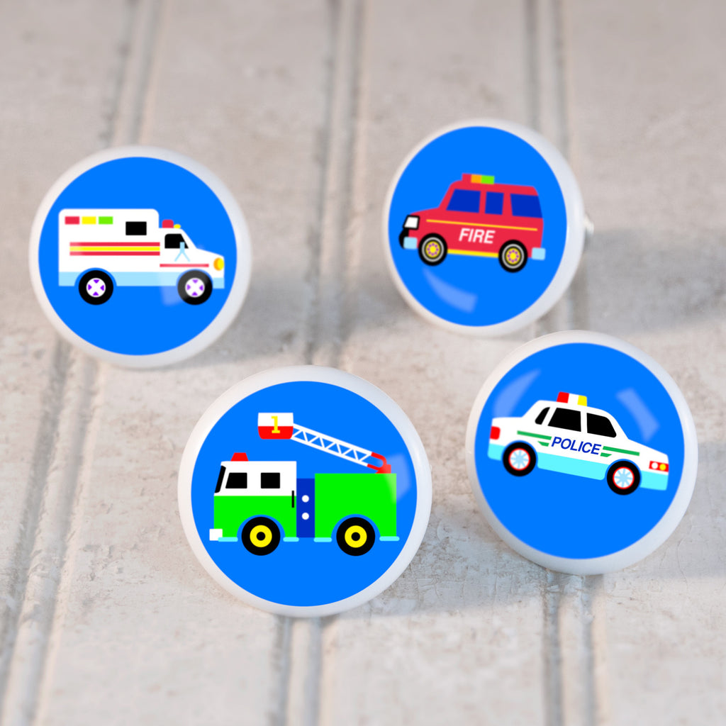 Heroes kids drawer knobs with fire engine, police car, ambulance, and emergency vehicles and heroes