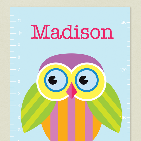 Close up of Owls Growth Chart with colorful owl on a light blue background with child's name on top in deep pink.