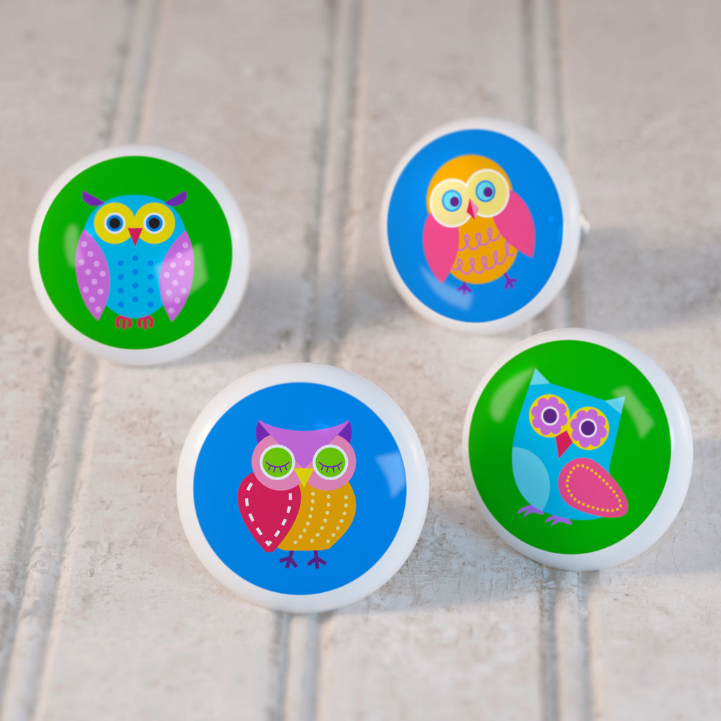 Owls Set of 4 Small Ceramic Kids Drawer Knobs by Olive Kids from Art Appeel