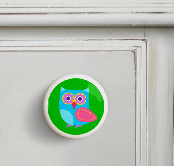 Blue - Owls Small Ceramics Kids Drawer Knob by Olive Kids from Art Appeel