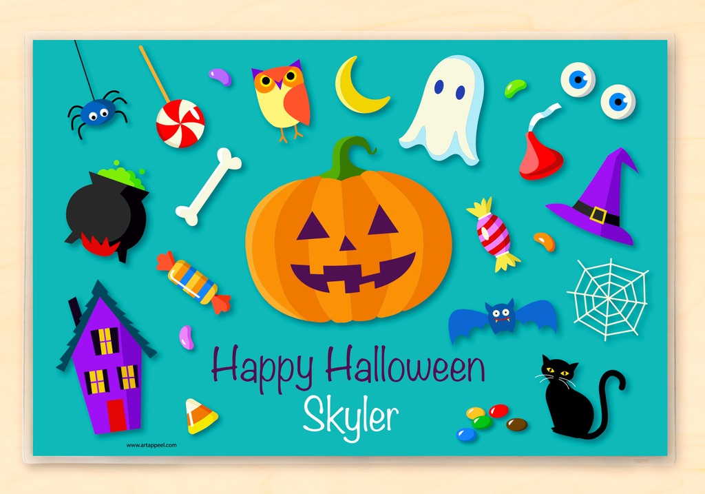 Jack O'lantern, black cat, Halloween Candy, witch's hat, cauldron and other Halloween icons on a blue green background and personalized with child's name.