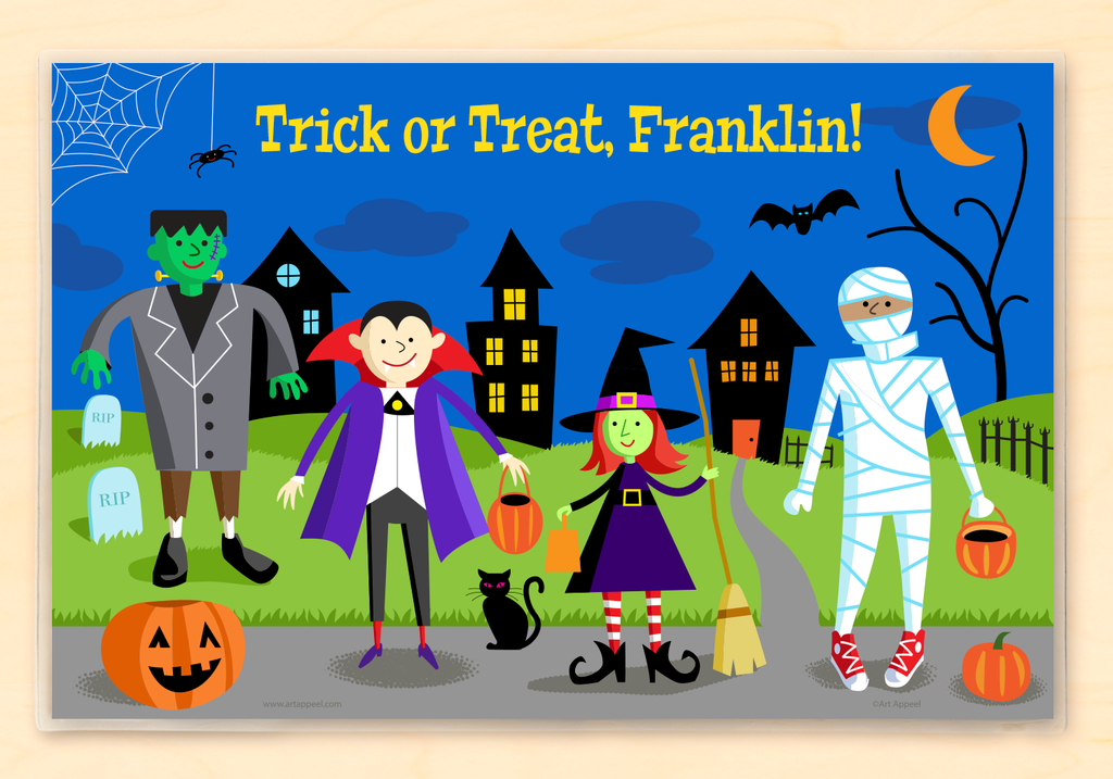 Vampire, Mummy, monster, and witch trick or treaters on a  Halloween night scene. Personalized with child's name.