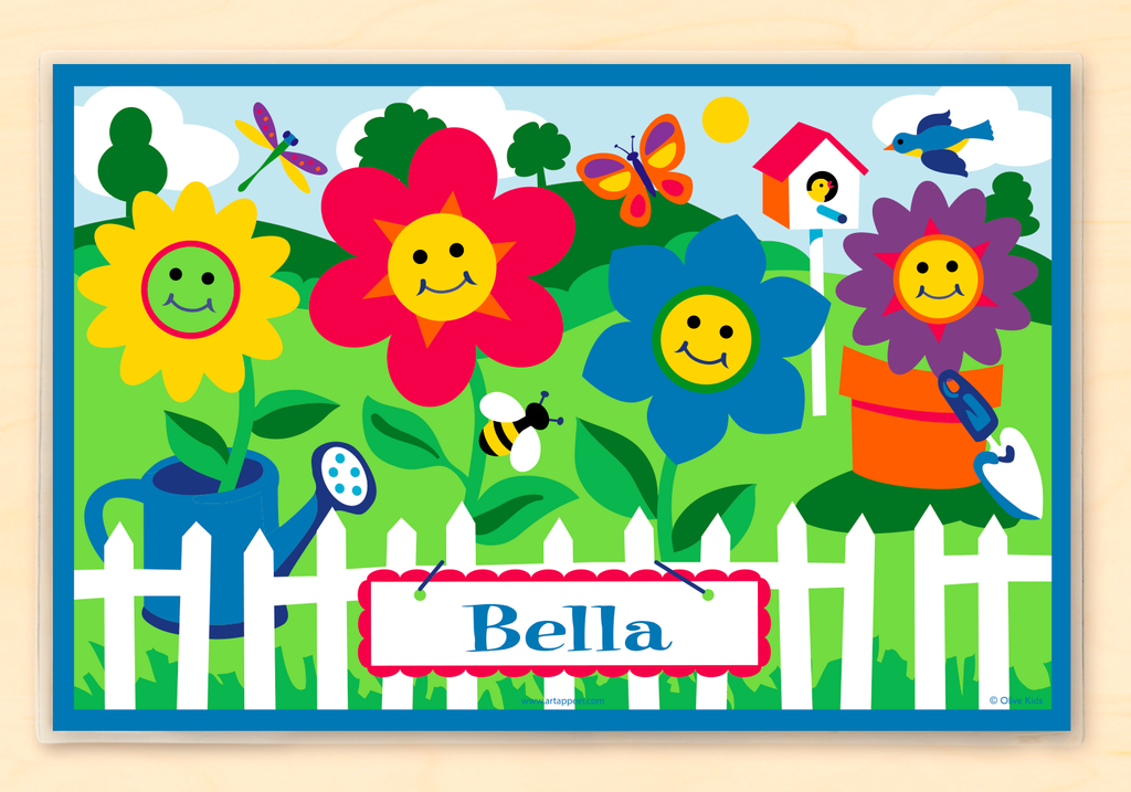 Personalized Kids Placemat with happy faced flowers in a summer garden
