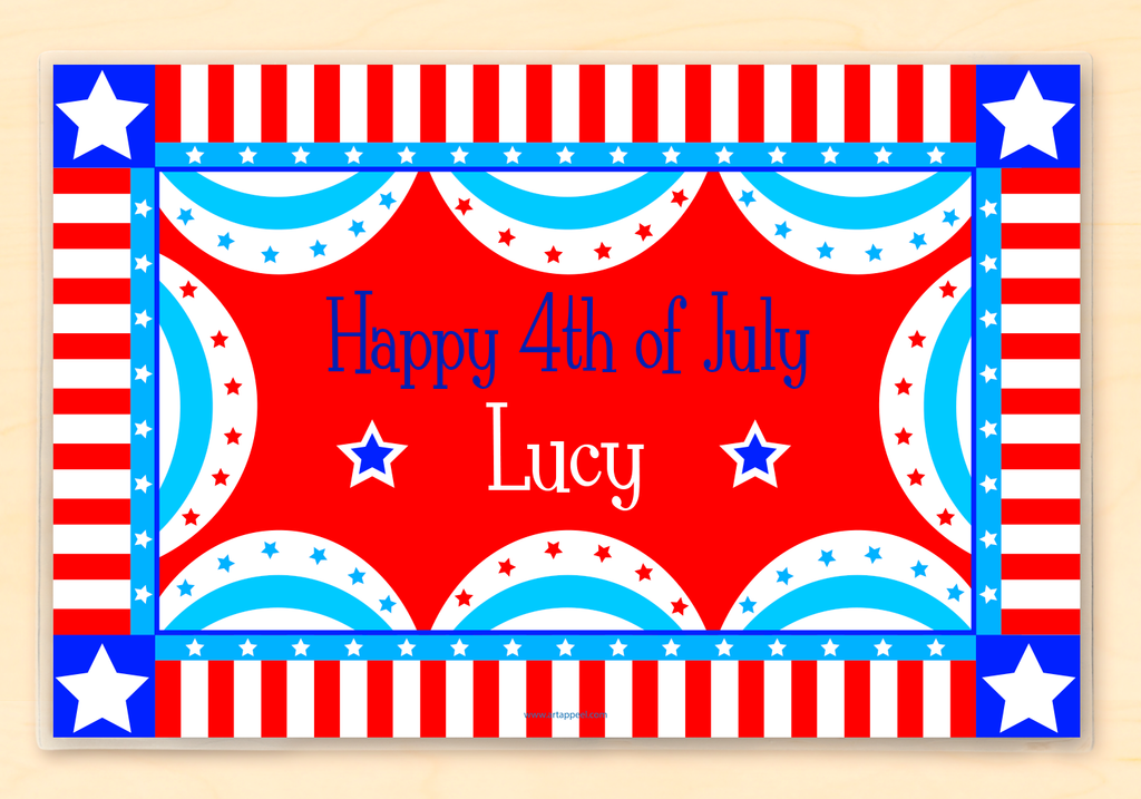 Red, white and blue patriotic buntings surround a Happy 4th of July wish, personalized with name on a red background.