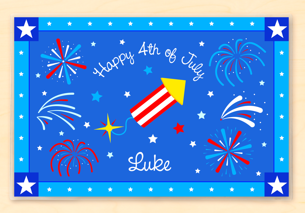 Four of July Firecracker Personalized Kids Placemat with red and white striped rocket on blue fireworks background