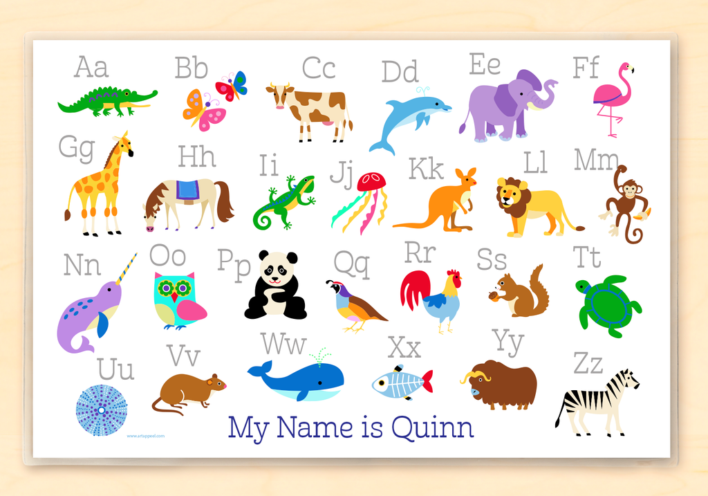 Kids Educational Personalized Placemat featuring Animal Alphabet with child's name and brightly colored animals