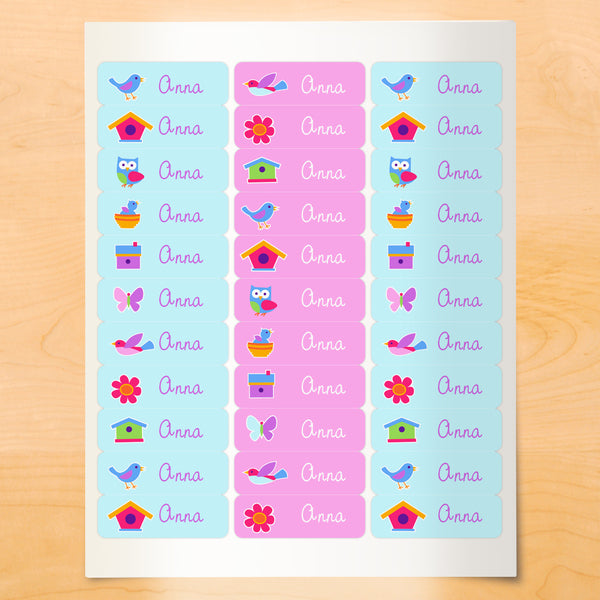 Personalized kids lables with birds, birdhouses and bird nests on light blue and pink backgrounds