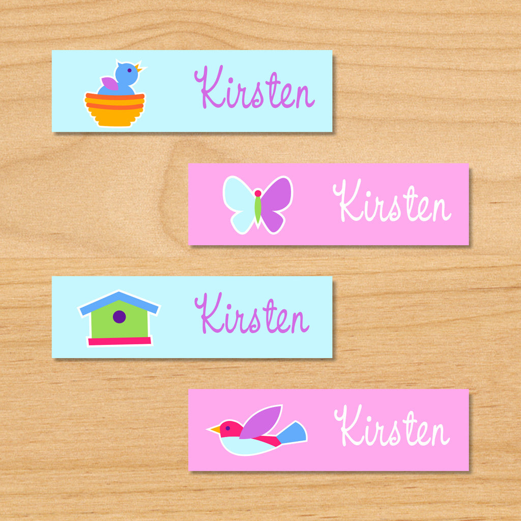 Birdie personalized kids mini waterproof name labels with bluebird, nest, birdhouse, and butterfly in blue and pink background