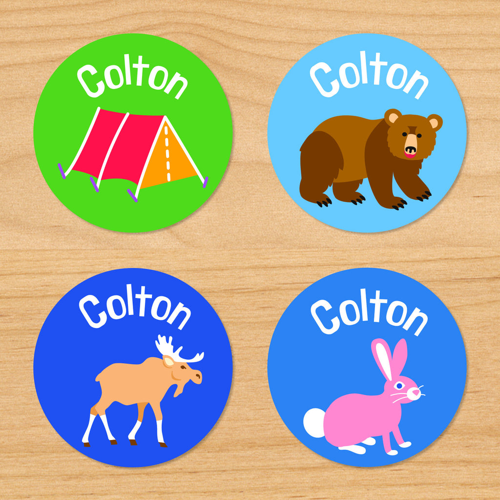 Camping trip kids personalized round waterproof labels woods adventured themed with name, tent, bear, moose and bunny rabbit on green and blue woodland background