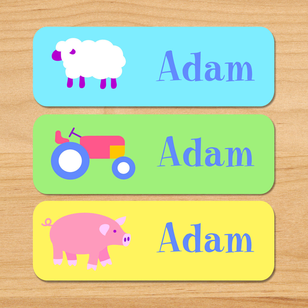 Country baby kids waterproof name labels with farm animals featuring a sheep, pig and tractor in pastel colors and a spring theme