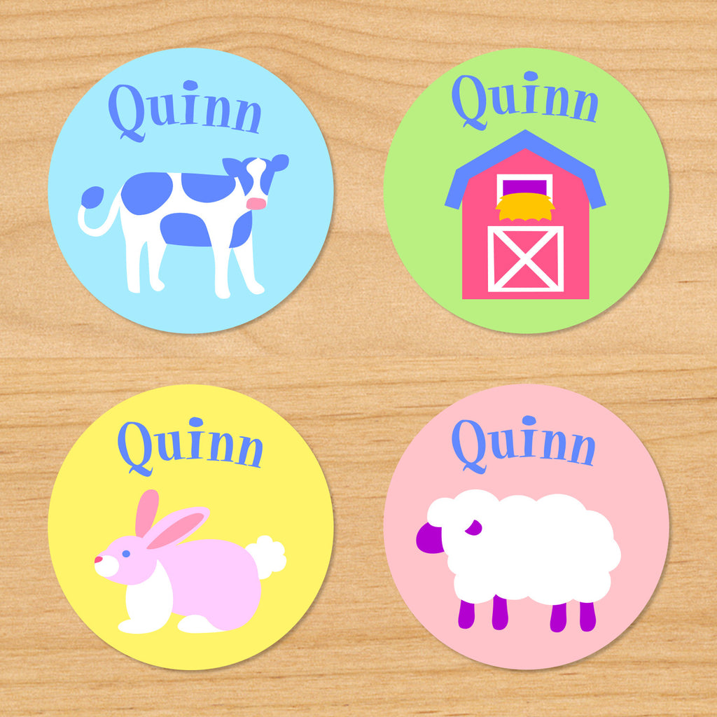 Country baby kids waterproof round name labels with farm animals featuring a bunny rabbit, cow, barn, and sheep in pastel colors and a spring nursery theme