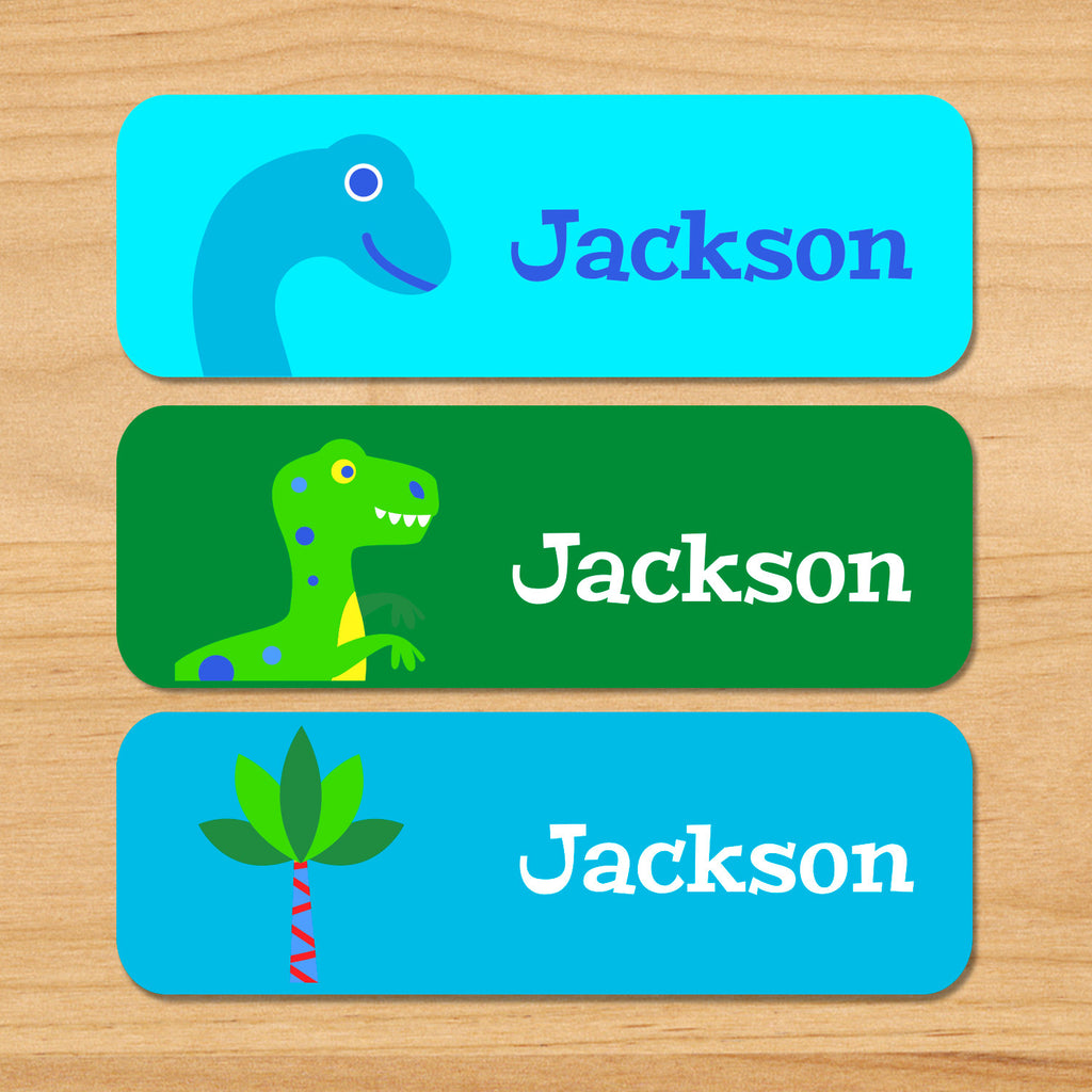 Dinosaur personalized waterproof kids name labels with green and blue t-rex and palm tree