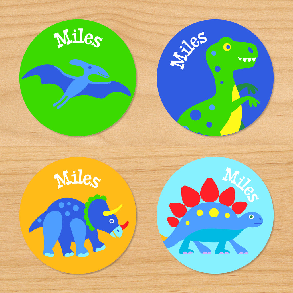 Round Waterproof Labels featuring colorful Dinosaurs