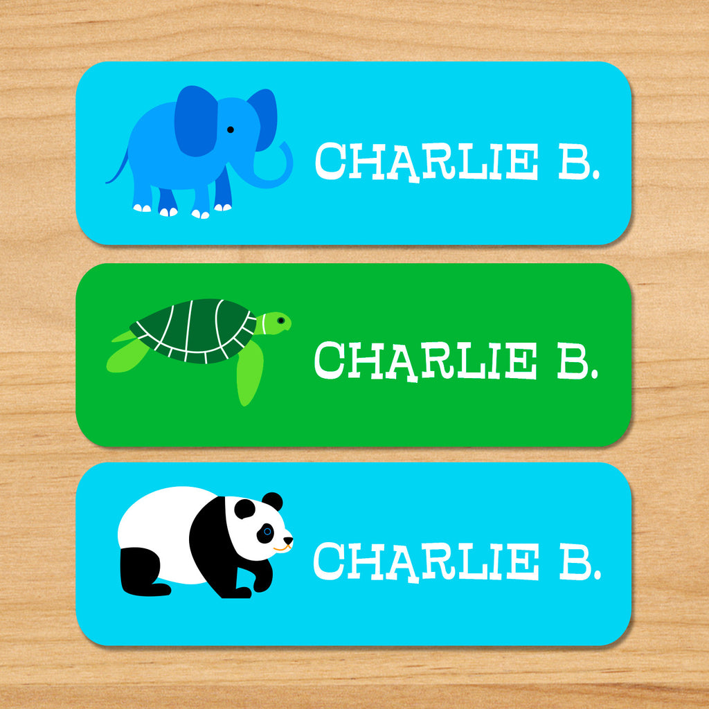 Endangered animals kids waterproof name labels with elephant, sea turtle and panda on green and blue backgrounds