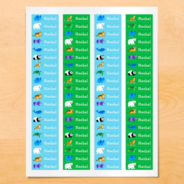 Personalized kids mini lables with pandas, whales, polar bears and other animals on blue and green backgrounds