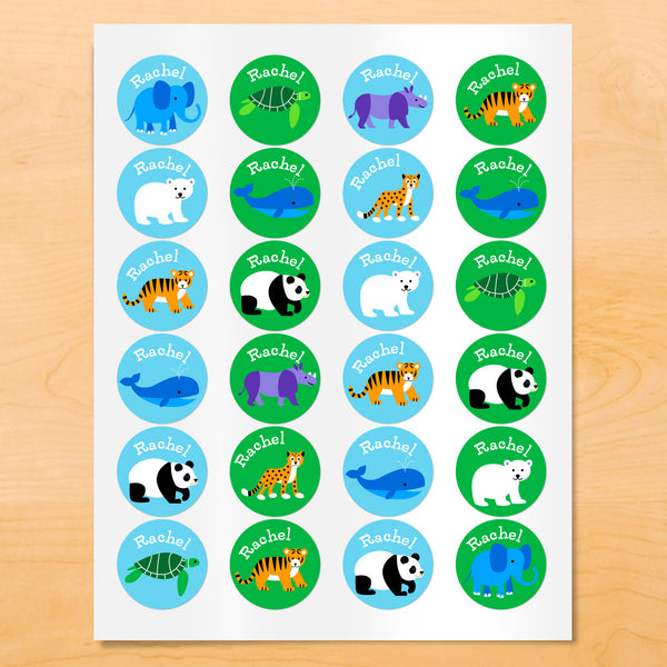 Personalized kids round lables with pandas, whales, polar bears and other animals on blue and green backgrounds