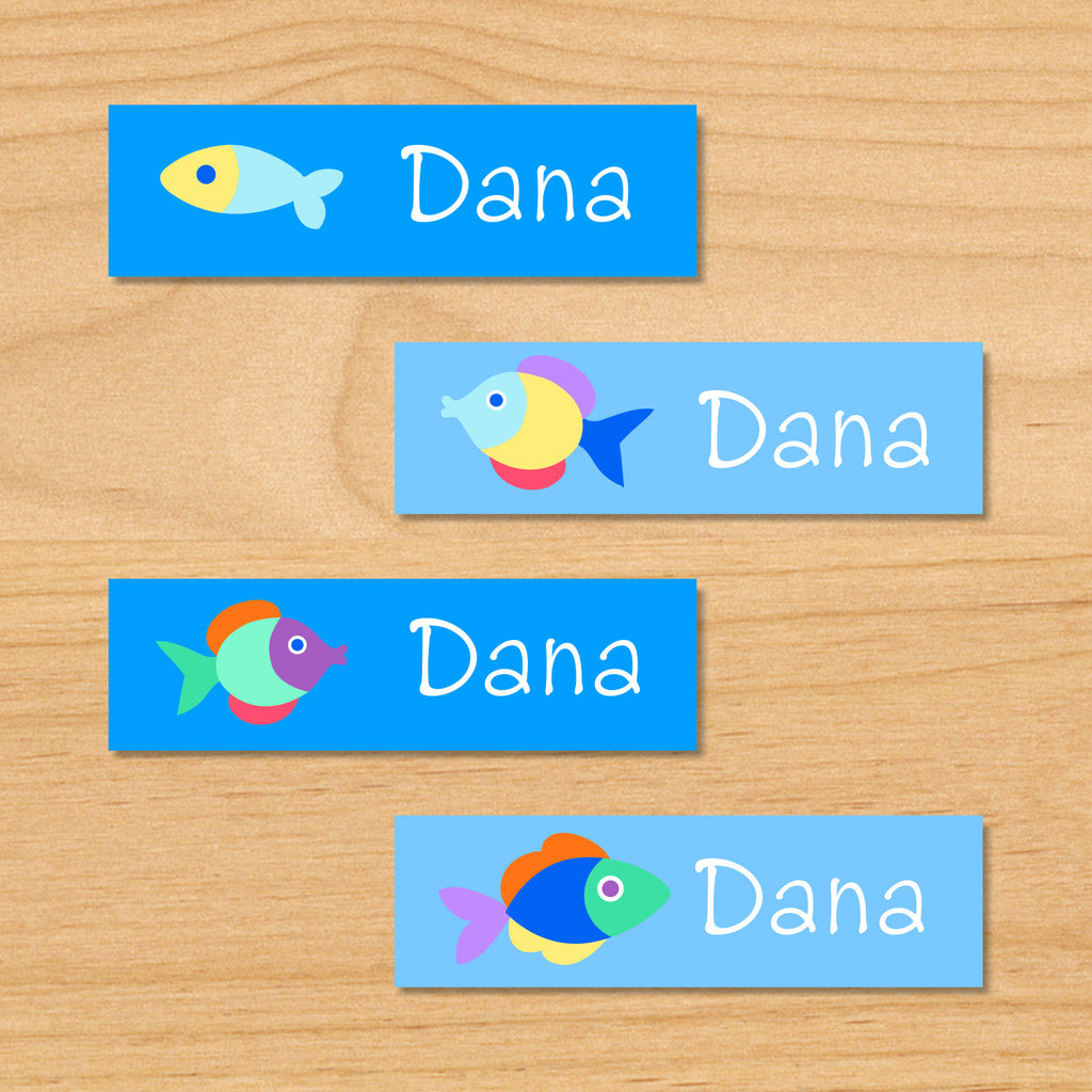 Somethin' fishy personalized ocean kids mini waterproof labels with name and colorful fish on blue ocean water background