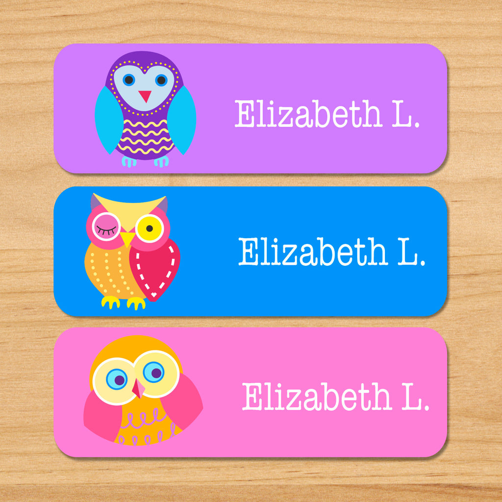 Owls personalized kids name waterproof labels with colorful owls on pink, purple and blue backgrounds