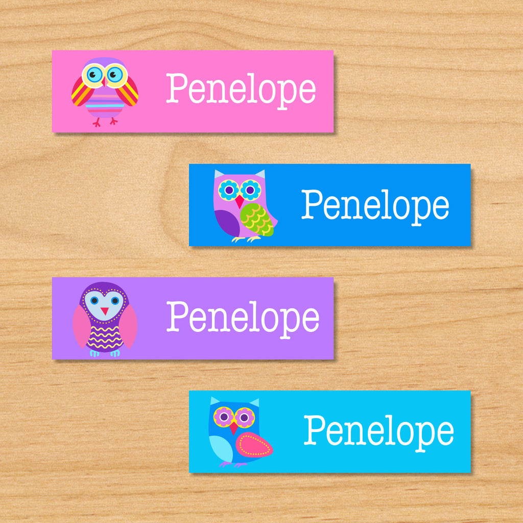 Owls personalized kids mini name waterproof labels with colorful owls on pink, purple and blue backgrounds