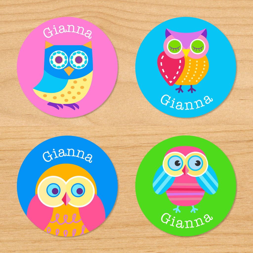 Owls personalized kids girls round name waterproof labels with colorful owls on pink, green and blue backgrounds