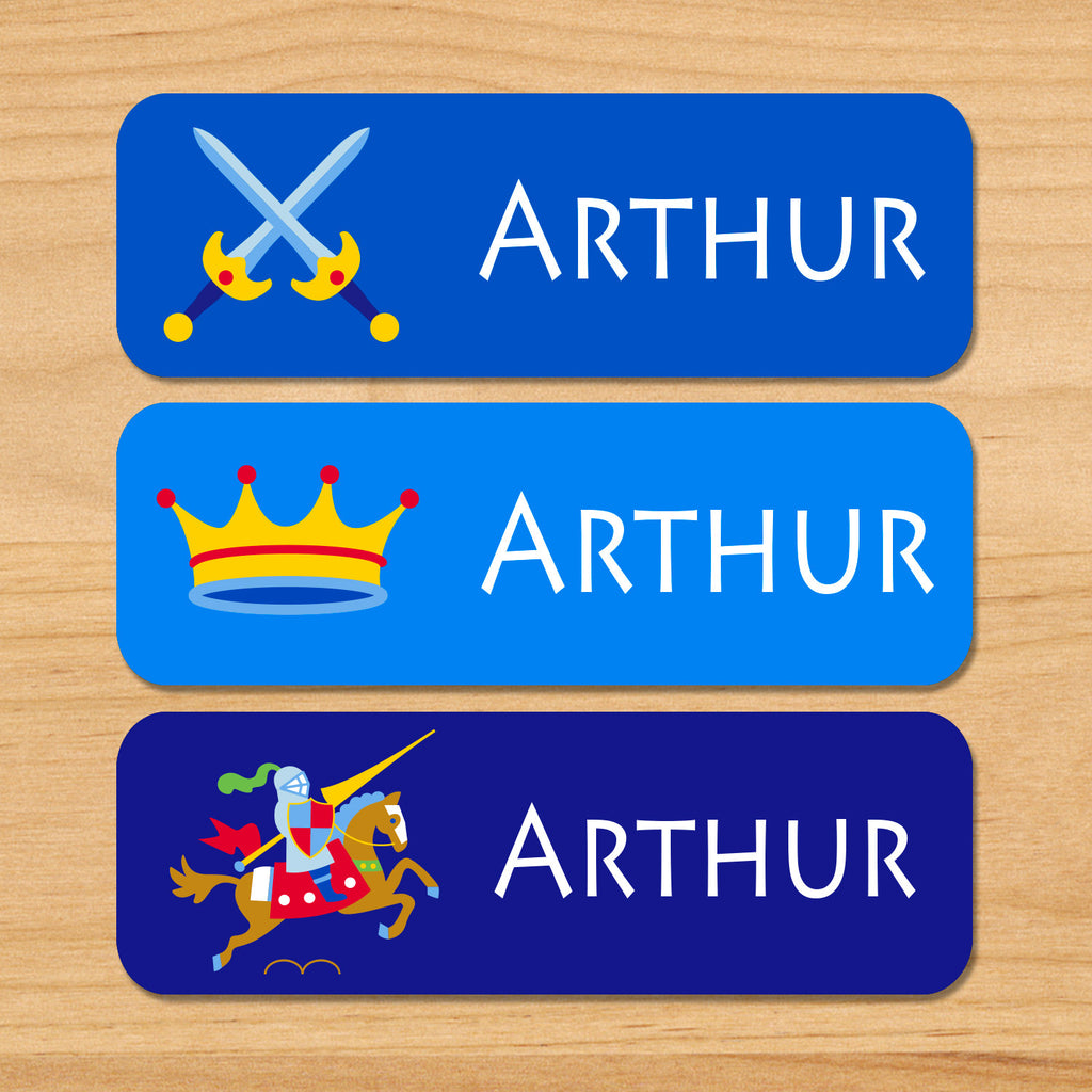 Set of 33 Good Knight kids personalized day care waterproof labels with knights, horse, swords, and crown