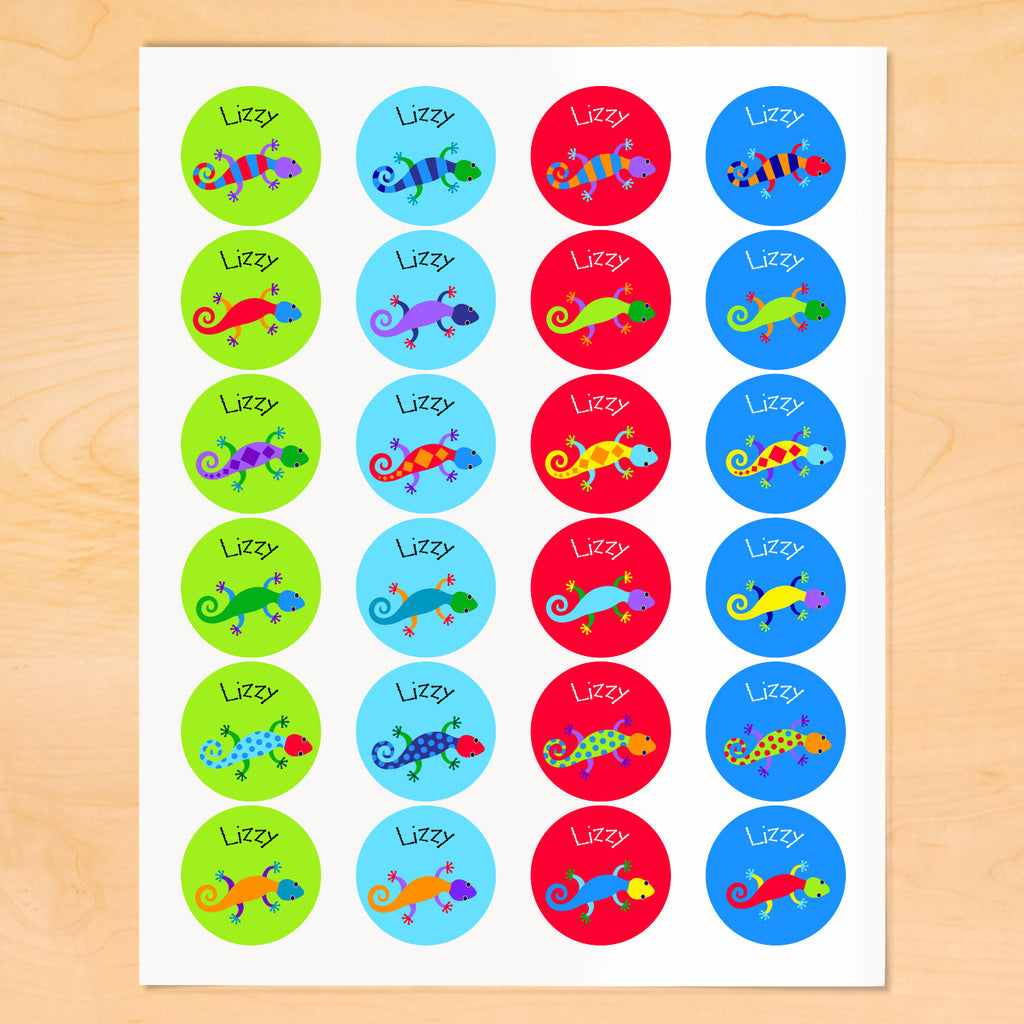 Personalized kids round lables with colorful lizards