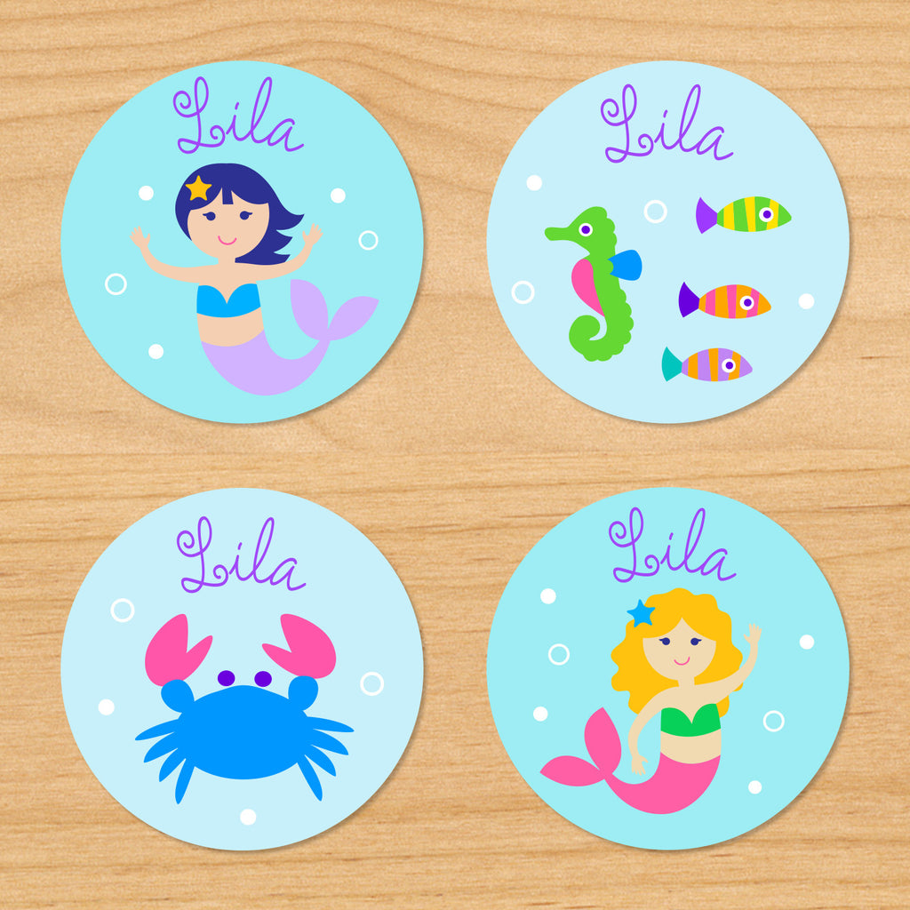 Mermaids personalized kids mini waterproof girls name labels with crab, seahorse, mermaids, and bubbles on a blue and turquoise underwater ocean background